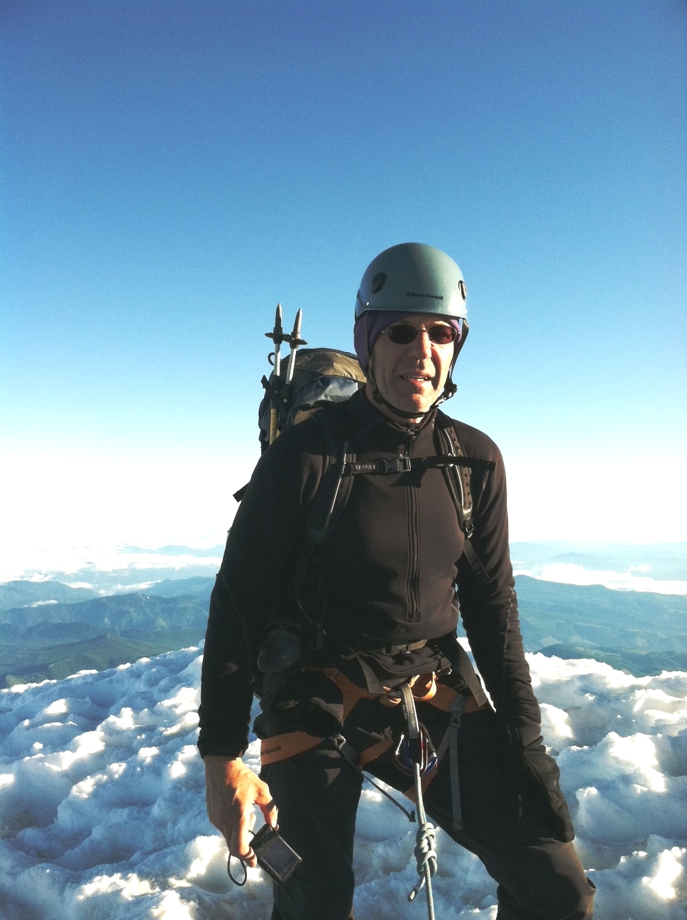 Paul Schaberg recreating on summit of Mount Hood, OR - photo by Robert Henke