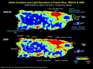 Photo of Extent of light pollution in the island of Puerto Rico, Vieques and Culebra, 1992-93 to 2000. Global data source accessible from NOAA NGDC Earth Observation Group (EOG) Defense Meteorological Satellite Program. Forest Service