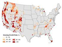 Photo of Housing growth rate 1940-2000 within 50 km of each national forest, national park, and wilderness area within the conterminous United States. Susan I. Stewart, Forest Service