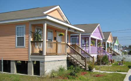 Photo of Homes with raised floors in New Orleans, Louisiana. Samuel V. Glass, Forest Service