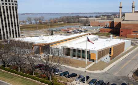 Photo of FPL's Centennial Research Facility, opened in June 2010, is a combined steel and wood structure with precast concrete panel exterior skin, composite wood fins, and an EPDM roof system. Steve Schmieding, Forest Service