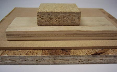 Photo of Bonded wood panel products made with soy adhesives. Steve Schmieding, Forest Service