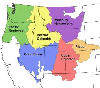 Photo of Modeled flow metric datasets are organized by six major river basins in the western United States. Forest Service