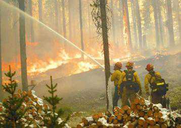 Photo of Crews spread foam on a fire to defend a home in Secesh Meadows, Idaho. Forest Service