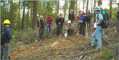Photo of Training sessions such as this one in Region 5 ensures that the Forest Soil Disturbance Monitoring Protocol is used consistently across National Forests in the U.S. Forest Service
