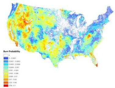 Photo of Burn probability map for the conterminous United States generated for risk assessment and other applications. Forest Service