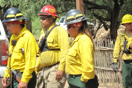 Photo of Tribal Fire Fighting Team.  Forest Service