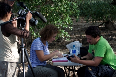 Photo of Nicaraguan reporter and IITF cooperator, Adelayde Rivas Sotelo, filming the biodiversity project. Forest Service