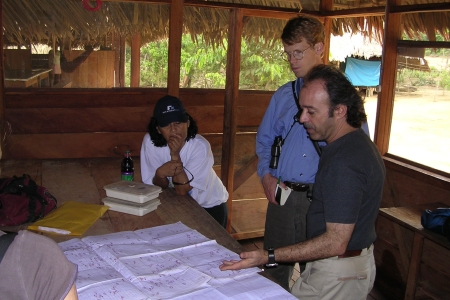 Photo of Reviewing Compliance of Harvest Plans in the Consorcio Forestal Amazonico, Ucayali, Peru. Forest Service