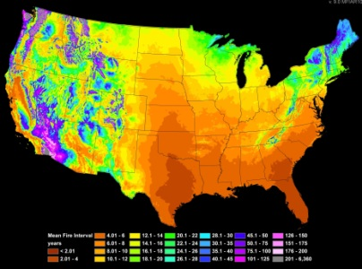 Photo of Map of mean fire interval years in the United States. Forest Service