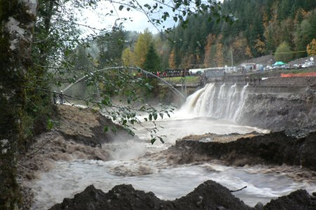 Photo of The Marmot Dam on the Sandy River in Oregon was breached in October 2007 to improve habitat for salmon and steelhead. Gordon Grant, Forest Service