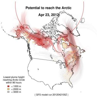 Photo of Daily prediction of atmospheric black carbon originating in the United States transported to the Arctic. Forest Service