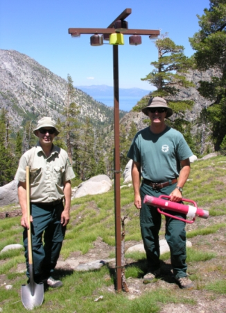 Photo of Forest Service rangers and passive samplers in Desolation Wilderness. Forest Service