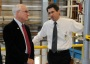 Photo of FPL's Rick Reiner (right) toured USDA Under Secretary Sherman (left) through the nanocellulose facility, explaining its capabilities and the promise this new material offers to a wide variety of industries. Steve Schmieding, Forest Service