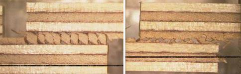 The only difference between these plywood samples is the direction of cracks in the wood, which obviously affected the adhesive-performance (right image) test results. Anti Rohumaa, Aalto University