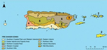 Photo of Fire weather zones for Puerto Rico and the U.S. Virgin Islands. William Gould, USDA Forest Service