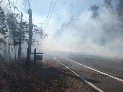 Photo of Smoke from a low-intensity prescribed fire conducted in the New Jersey Pine Barrens on 6 March 2012. Forest Service research looks at the impact on a local highway. Warren Heilman, USDA Forest Service