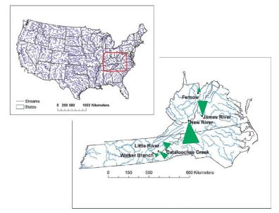Photo of Watershed locations in the southern Appalachian states of Tennessee, North Carolina, Virginia, and West Virginia. MB Adams, USDA Forest Service