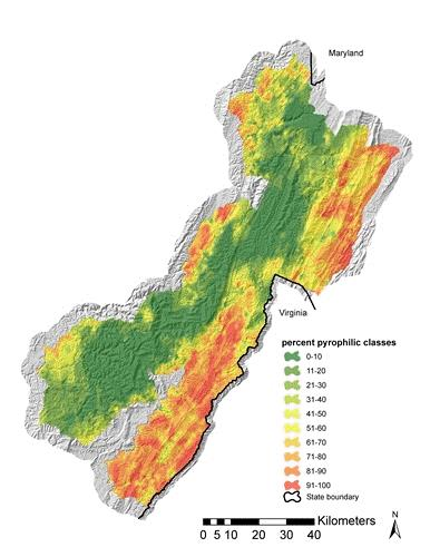 Photo of The Monongahela National Forest is classified according to fire influence on species composition. Melissa Thomas-Van Gundy, USDA Forest Service