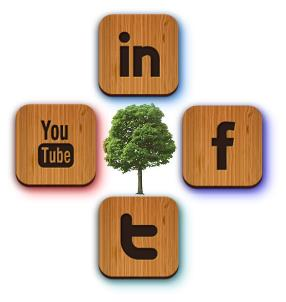 Photo of Examples of popular social media platforms now being used in the forest products industry. Iris Montague, USDA Forest Service
