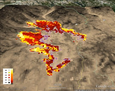 Photo of A 2013 Rim Fire, as viewed from the west in mid-wave infrared light by the satellite-based Visible Infrared Imaging Radiometer Suite (VIIRS).  Brightness temperatures have been color coded according to the inset at lower left. W. Schroeder, University of Maryland