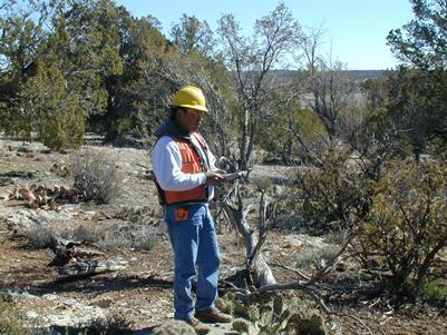 Photo of A Forest Service inventory specialist entering data in a pinyon/juniper woodland. USDA Forest Service