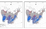 Photo of Distribution of forest inventory observations of seedlings (blue) and trees (red) for eastern red cedar in eastern U.S. forests:  (A) Time 1: all forest sites, (B) Time 2: non-disturbed forest sites, and (C) Time 2: disturbed forest sites. Christopher Woodall, USDA Forest Service