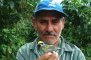 Photo of Forest Service research assistant Carlos Delgado holds a golden-winged warbler (Vermivora chrysoptera). These warblers breed in the U.S. and winter in Latin America. David King, USDA Forest Service