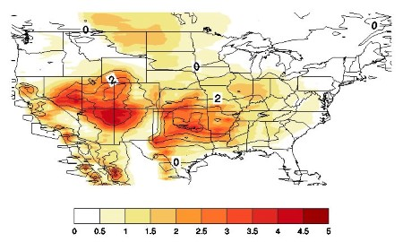 Photo of Potential changes in the average length (days: black contours) of weather events that are conducive to extreme fire behavior under projected future climate conditions compared to current climate conditions, as quantified by Haines Index values equal to 5 or 6.  Color shading indicates changes in standard deviation. USDA Forest Service