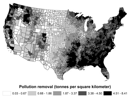 Photo of Estimated removal per square kilometer of land (tonnes km2) of all pollutants (NO2, O3, PM2.5, SO2) by trees per county in 2010. USDA Forest Service
