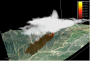 Photo of Smoke plumes (in misty white) rise over areas of fire growth along the sides of a topographic bowl in this simulation of the 2006 Esperanza Fire. Phil Riggan, USDA Forest Service