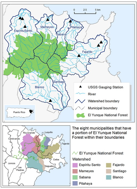 Photo of Watersheds, land cover, and municipalities within the study area of the El Yunque National Forest.  USDA Forest Service