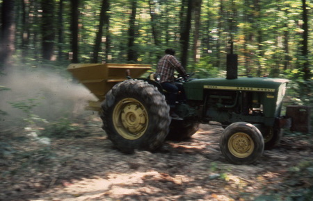 Photo of Lime application in 1985. USDA Forest Service