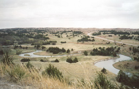 Photo of An example of eastern red cedar (Juniperus virginiana) expansion into grasslands in eastern Nebraska. USDA Forest Service