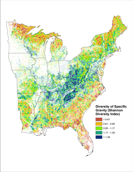 shannon s diversity index of a forest s wood specific gravity i e wood density which serves as an indicator of various forest ecosystem processes such