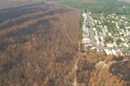 Photo of Brighton Development in Barnegat Township, 2007 Warren Grove Wildfire. Gregory S. McLaughlin, New Jersey Forest Fire Service
