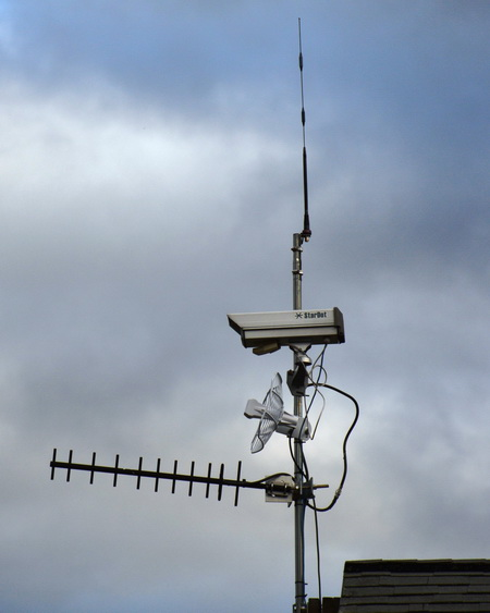 Photo of Phenocam and Antenna on top of the pierce laboratory at the Hubbard Brook Experimental Forest, NH. USDA Forest Service