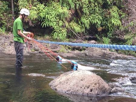 Photo of Forest Service researchers set drift nets to sample larval fish and shrimp that are released to the water column. USDA Forest Service