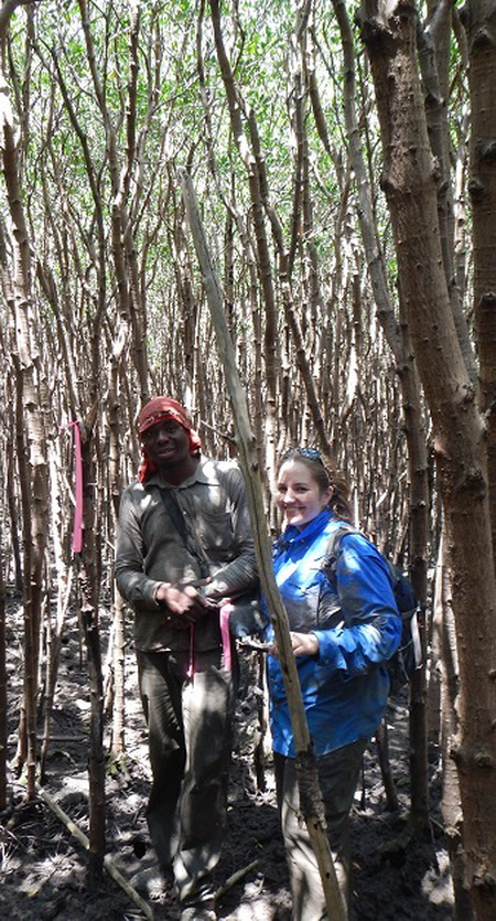 Photo of Forest Service researcher Christina Stringer with Artur Titos, who works for a Mozambique organization collaborating on the carbon monitoring project. USDA Forest Service