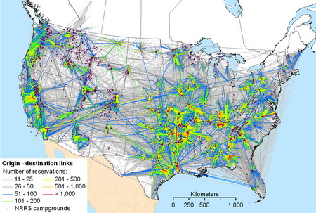Photo of A map shows the links between visitor origin ZIP codes and destination campgrounds, as documented in the U.S. National Recreation Reservation Service database between January 2004 and September 2009. Link color indicates the number of individual reservations recorded in the database; links with 10 or fewer reservations have been omitted for clarity. USDA Forest Service