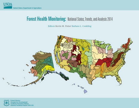 Photo of Annual reports describing the health of the nation's forests serve as a guide to forest health trends and provide quantitative baselines for detecting forest health changes over time.  USDA Forest Service