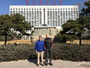 Photo of Forest Service scientist Sean Healey (left) in front of Beijing Forestry University with Dr. Klaus von Gadow of that institution. USDA Forest Service
