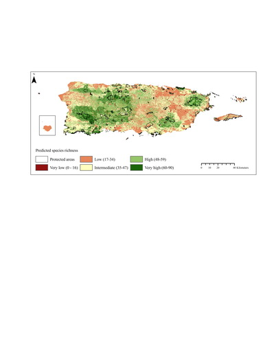 Photo of Map of the predicted species richness in Puerto Rico. U.S. Department of Agriculture Forest Service.