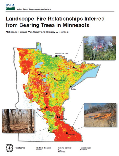 Photo of The figure is the cover of the station publication for the Minnesota work showing the percentage of pyrophilic witness trees across most of Minnesota with photos illustrating typical fire behavior for three areas. U.S. Department of Agriculture Forest Service.