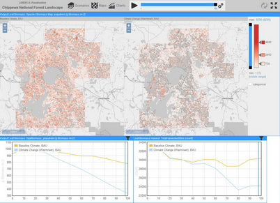 "Photo of The user-interface of LandViz showing LANDIS-II projections of quaking aspen biomass on the Chippewa National Forest after 100 years of ""business as usual"" management under current climate and (left) and a warmer and wetter climate (right). Melissa Lucash, Portland State University."