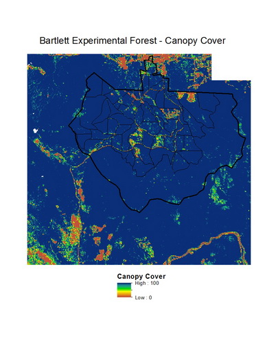 Photo of LiDAR-derived map of canopy cover for the Bartlett Experimental Forest and surrounding area. Values are a percentage; the dark blue colors are 100 percent canopy closure. Coeli M Hoover, U.S. Department of Agriculture Forest Service.