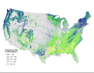 Photo of Predictions of soil organic carbon stocks (0-100 cm) for all Forest Inventory and Analysis plots in the conterminous United States.  U.S. Department of Agriculture Forest Service.