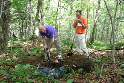 Photo of Alan Ellsworth (left), U.S. Park Service and Jason Siemion (right), U.S. Geological Survey taking soil samples at one of the twelve intensive sites in set up along the Appalachian Trail corridor. Kenneth Dudzik, U.S. Department of Agriculture Forest Service.