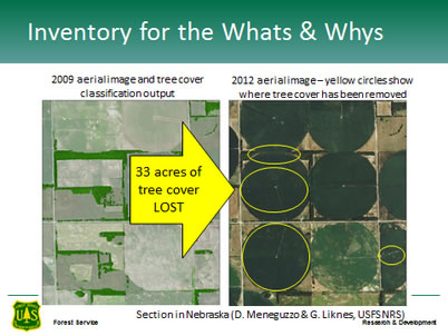 Photo of High-resolution maps showing windbreaks (left) facilitate monitoring in the dynamic agricultural landscapes of the central U.S. In this area, 33 acres of windbreaks have been removed between 2009 and 2012. U.S. Department of Agriculture Forest Service.