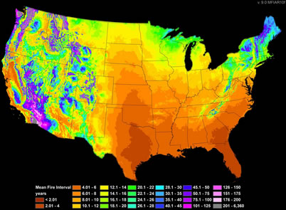 Photo of Prediction of historic fire frequency from 165-1850 for the continental U.S. U.S. Department of Agriculture Forest Service.